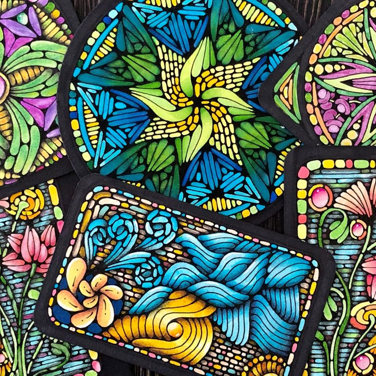 Stained glass Zentangle technique